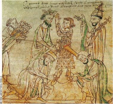 Enluminure du XIIIe siècle, tirée de la Chanson de Roland