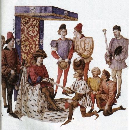 Le duc de Bretagne remet une épée à son roi d'armes