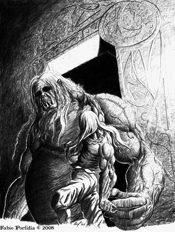 Beowulf facing Grendel