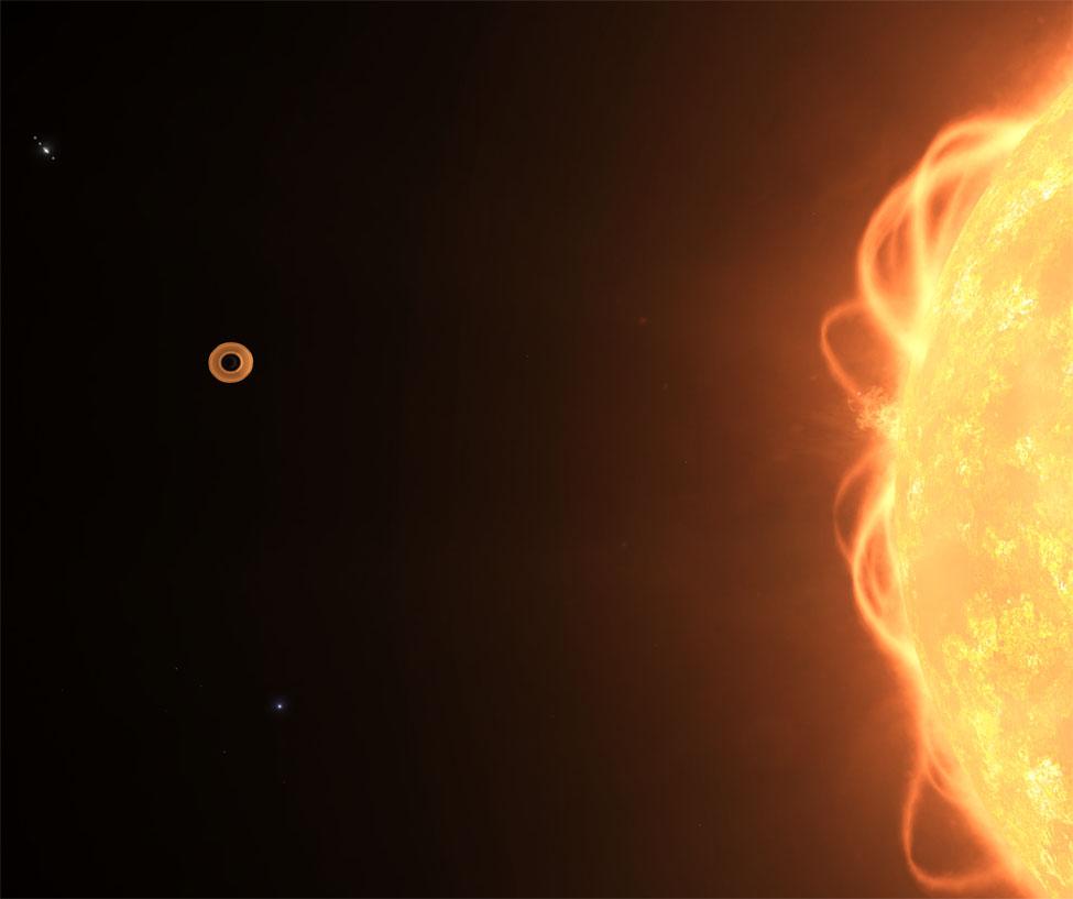 Ce sont les anneaux d'une géante gazeuse proche de son étoile qui reflètent sa lumière