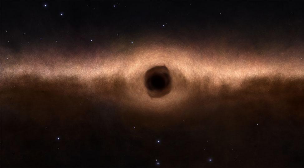 Vu à travers un trou noir
