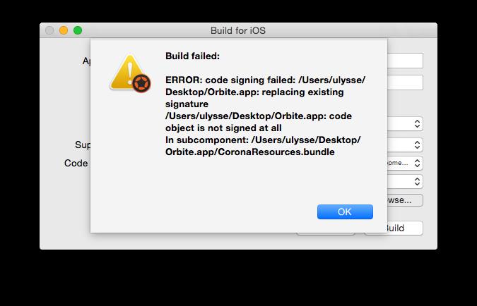 Build ERROR: code signing failed - iOS - Corona Labs Forums