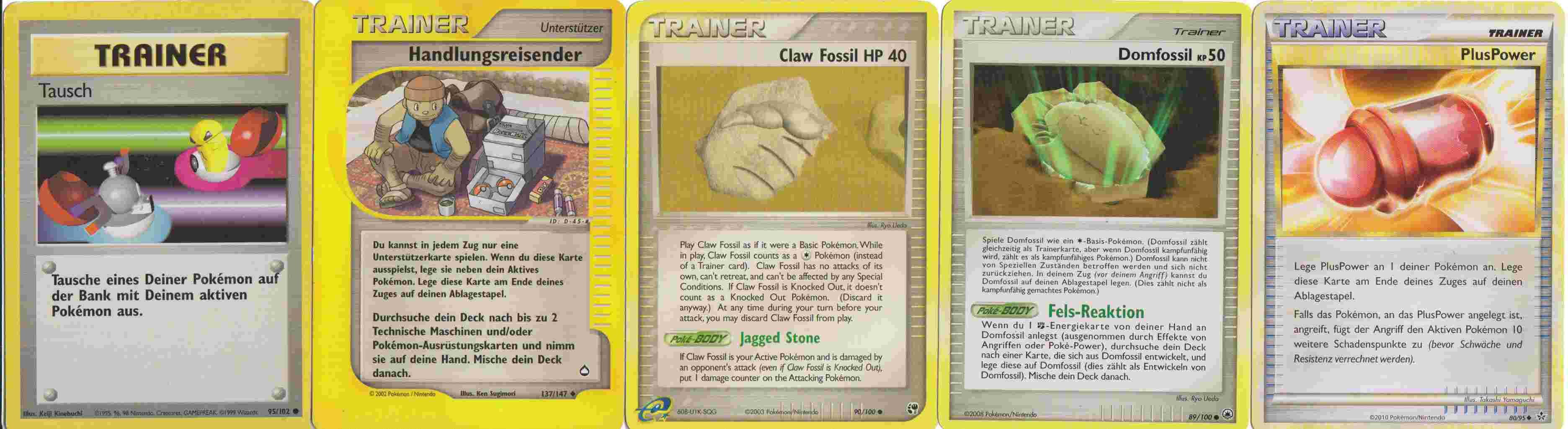 Die verschiedenen Trainer Karten