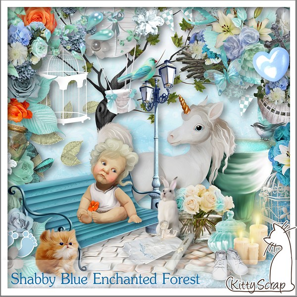 Shabby blue enchanted forest de kiityscrap dans juin kittys14