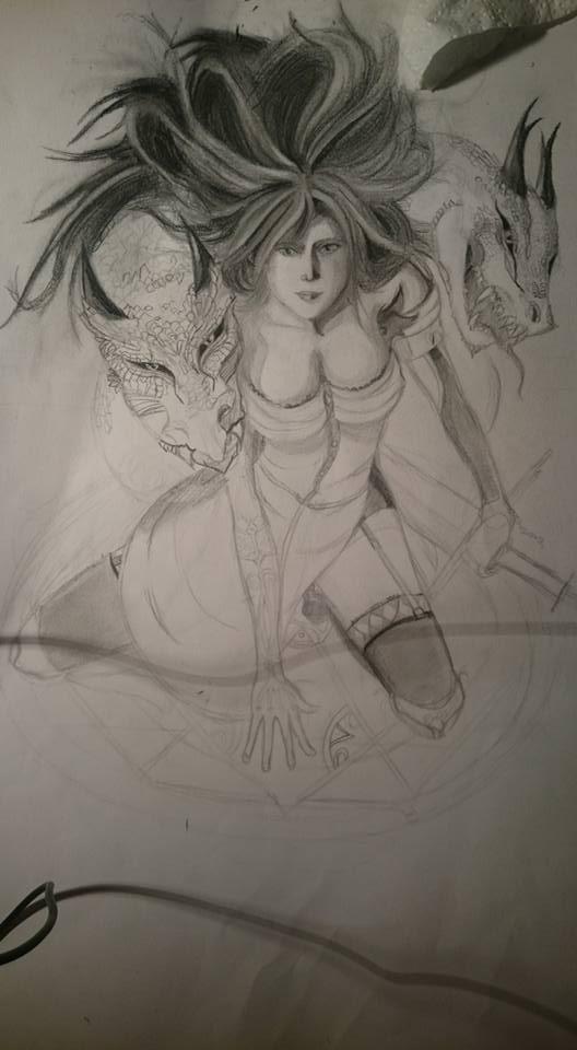 croquis femme dragon