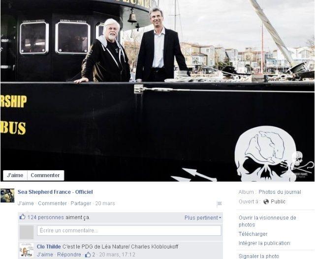 Charles Kloboukoff, pdg anthroposophe avec Paul Watson sur son bateau.