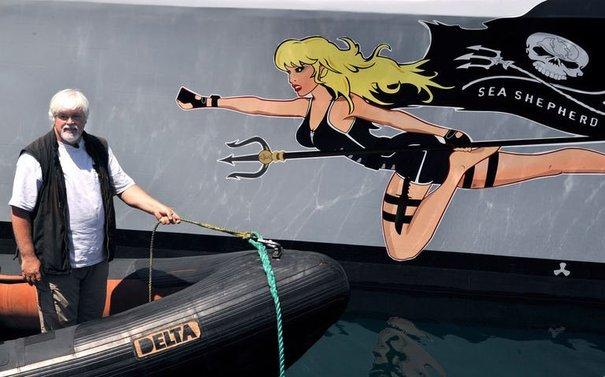 La proue du trimaran de Sea Shepherd le Brigitte Bardot.