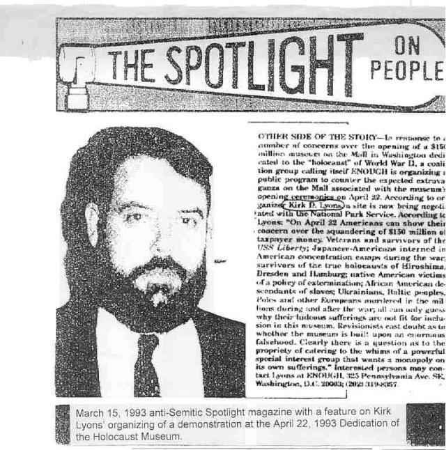 The spotlight, le magazine fasciste de son ami Willis Carto dans lequel Paul Watson s'est fait publier, faisant ici la promotion d'une manifestation négationniste.