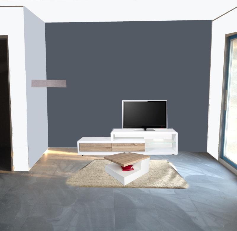 Peinture et meubles salon for Meuble tv gris fonce