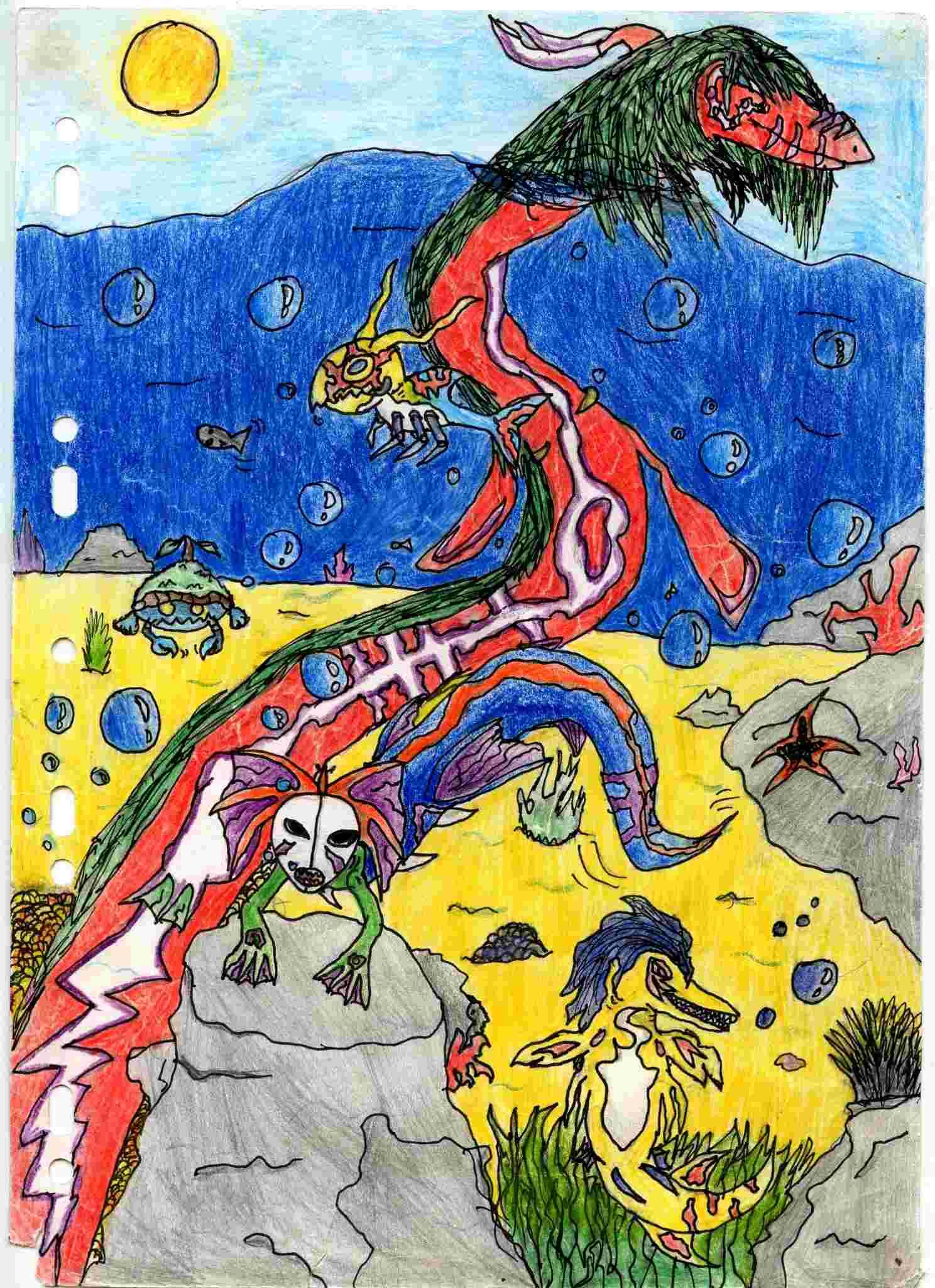 dessin monstre sous marin