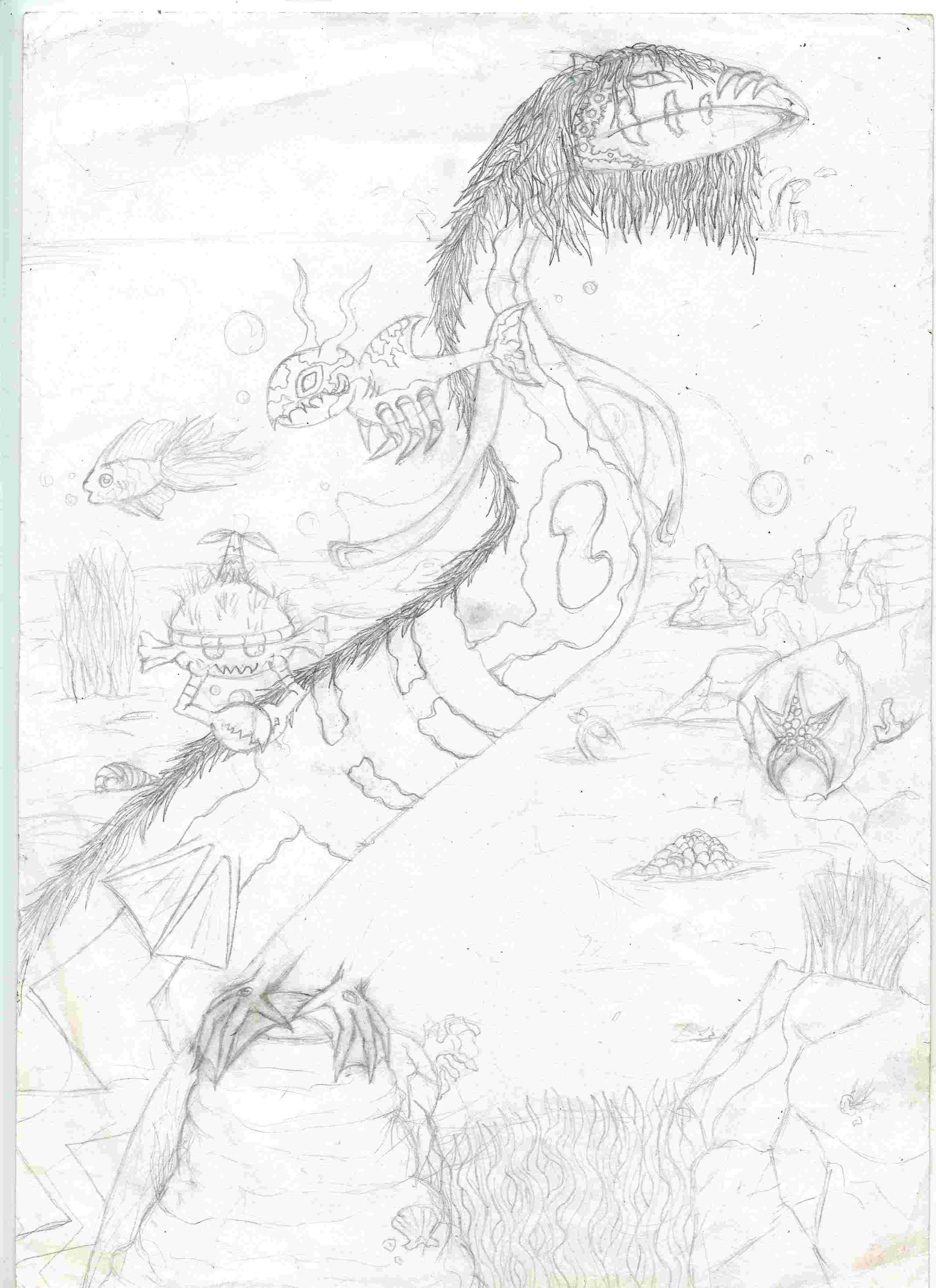 croquis monstre sous marin