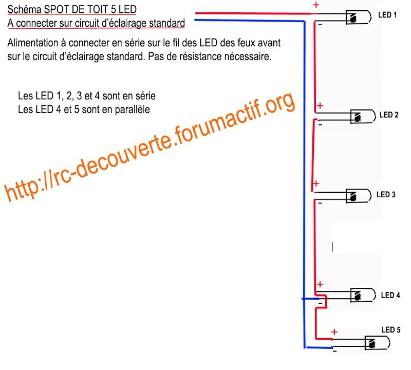 fabriquer clairage led pour scx10 et scale trial feux avant feux arri re spot de toit. Black Bedroom Furniture Sets. Home Design Ideas