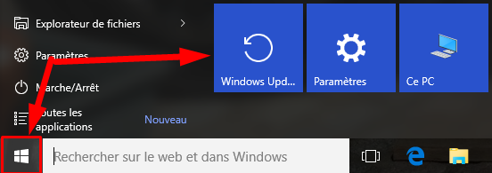 retrouver windows update windows 10