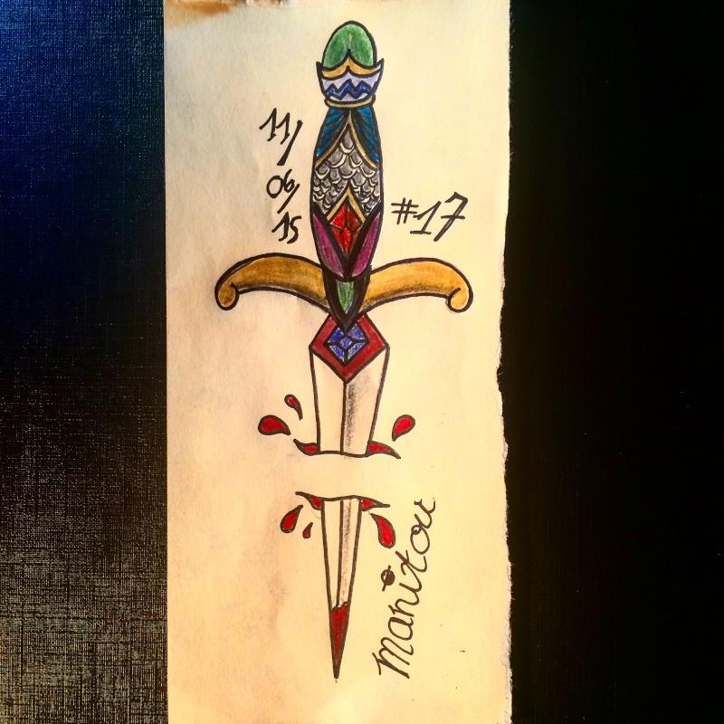 dessin tatouage épée dague