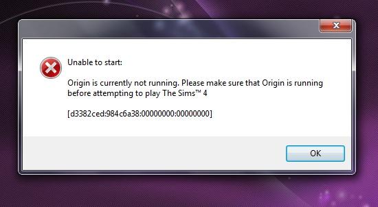 Sims 4: unable to start; origin needs to be running.